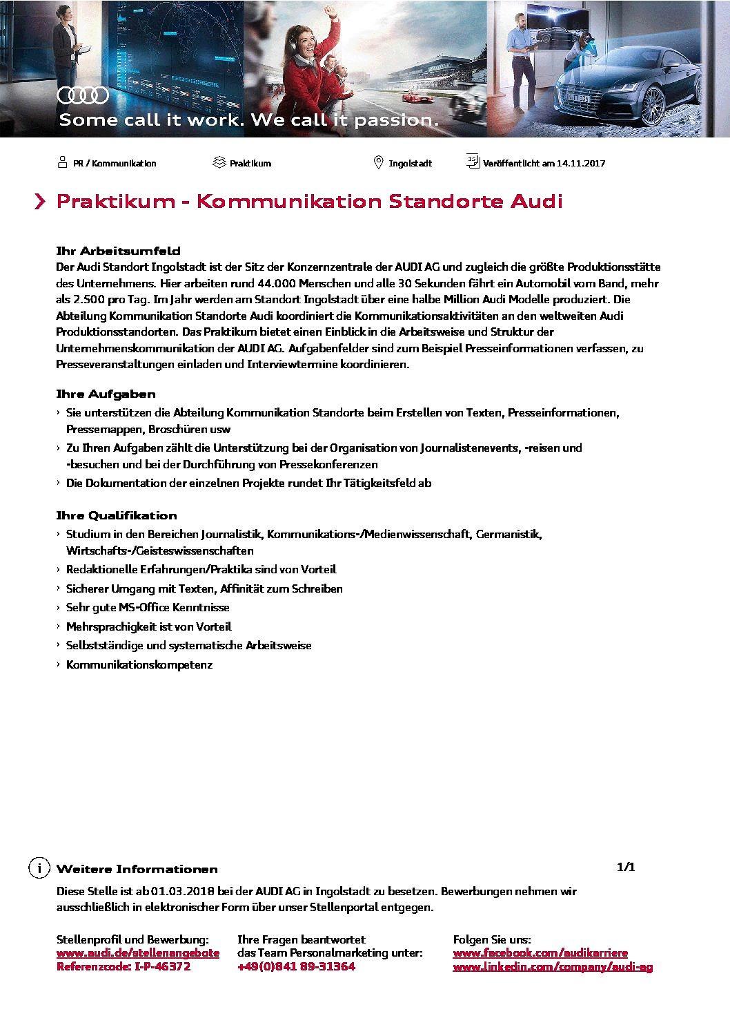 Audi AG: Praktikant (m/w) im Bereich Kommunikation der Standorte gesucht