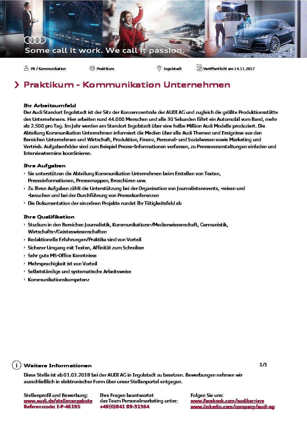 audi ag praktikant mw im bereich unternehmenskommunikation gesucht - Audi Ingolstadt Bewerbung