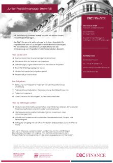 "Zum Artikel ""DBC Finance: Junior Projektmanager (m/w/d)"""